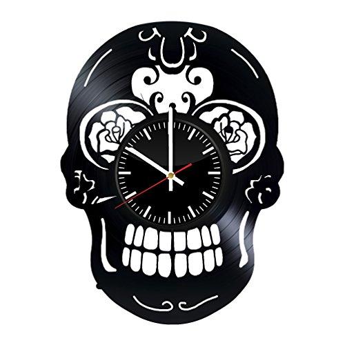 Fun Door Decorative skull design handmade vinyl record wall clock – Best gift