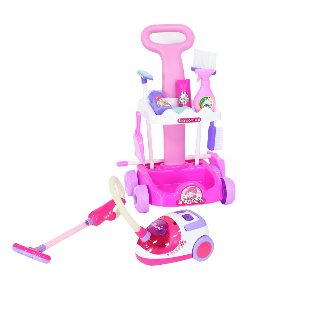 Livebest Pink Plastic Cleaning Trolley Cart Pretended Play Set Toy For Girl