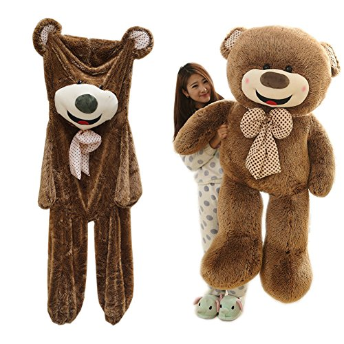 [Livingly Light 63 inches (5.2 ft) Giant Huge Cuddly Tie Teddy Bear Shell Unstuffed Animals Plush Toy Doll Only Cover with Zipper Brown] (Zipper Face Costume Makeup)
