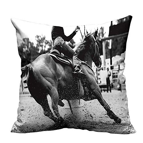 - YouXianHome Decorative Throw Pillow Case High Contrast,Black and White Closeup of a Rodeo Barrel Racer Making a Turn Ideal Decoration(Double-Sided Printing) 35x35 inch