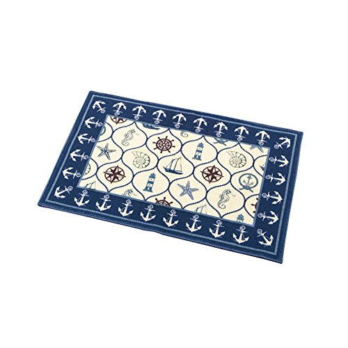 "Collections Etc Navy Blue Nautical Lattice Theme Accent Rug, Home Décor, 20"" X 30"""