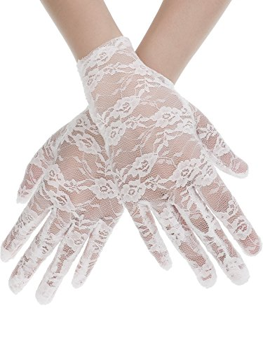 SATINIOR Ladies Lace Gloves Elegant Short Gloves Courtesy Summer Gloves for Wedding Dinner Parties (White 1)