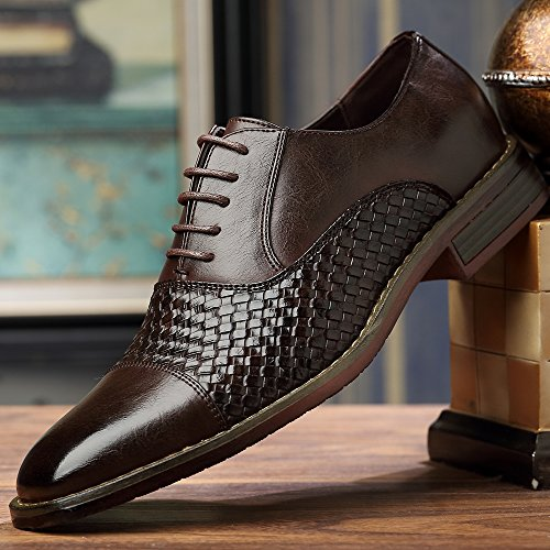 Ououvalley Hommes Oxford Moderne Classique Wingtip Dentelle Robe Chaussures Ouou-003brown