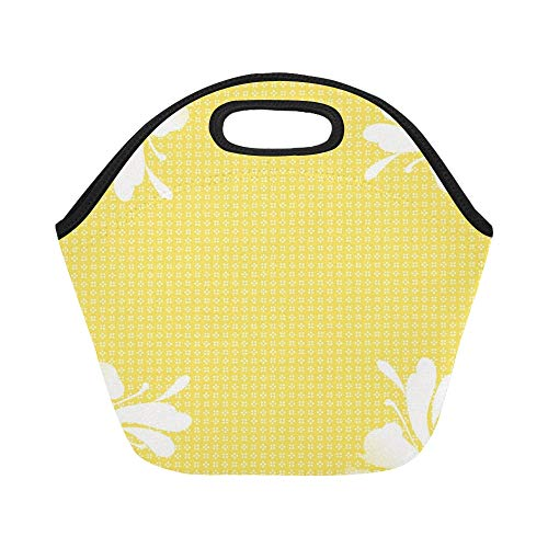 Insulated Neoprene Lunch Bag Swirl Yellow Pastel Soft Scrapbook A4 Large Size Reusable Thermal Thick Lunch Tote Bags For Lunch Boxes For Outdoors,work, Office, School