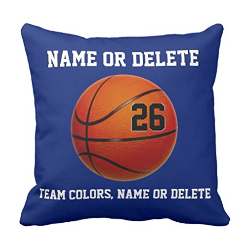 Emvency Throw Pillow Cover Basketball Your Colors 3 Text Boxes Decorative Pillow Case Blue Home Decor Square 20 x 20 Inch Cushion Pillowcase