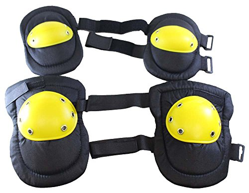 ToolUSA Adjustable Hard Cap Knee Pads And Elbow Pads In Black & Yellow: (Black Yellow Skate Pads)