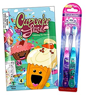 Toothbrush Travel Activity Set for Girls Bundled Includes Cupcake Land Fun Reward Pack with Crayons, Stickers, and Mini Coloring Book for Kids (Hatchimals 2 Pack)