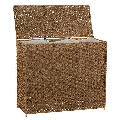 - Household Essentials ML-5445 Wicker 3 Compartment Laundry Sorter with Lid | 3 Section Clothes Hamper | Brown