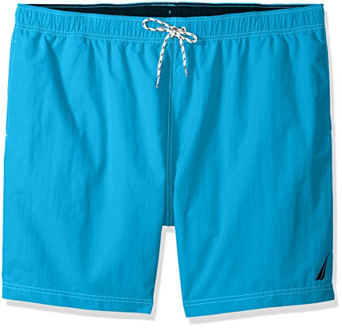 Nautica Men's Big and Tall Solid Quick Dry Classic Logo Swim Trunk, Bright Blue Jig, 3X-Large ()