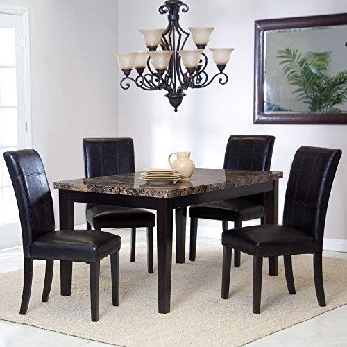 Piazza 5 Piece Dining Set with Faux Marble Top Table and 4 Chairs