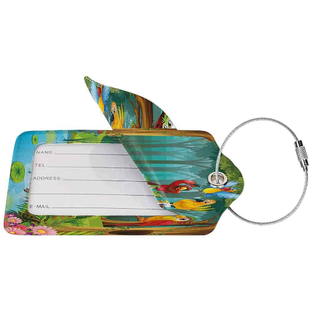 Printed luggage tag Forest Wild Chimpanzee Monkey Exotic Birds Parrot Animal in the Jungle on Tree Branch Print Protect personal privacy Multicolor W2.7 x L4.6