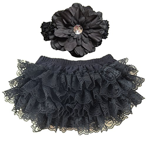 Ruffle Bloomers (Wennikids Lace Ruffle Diaper Cover Bloomer and Headband SET for Baby Girls Large Black)