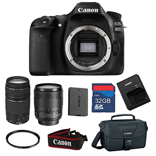 Canon EOS 80D 24.2 MP CMOS Digital SLR Camera Bundle with Canon EF-S 18-135mm f/3.5-5.6 IS USM Lens & EF 75-300mm f/4-5.6 III Zoom - International Version (No Warranty)