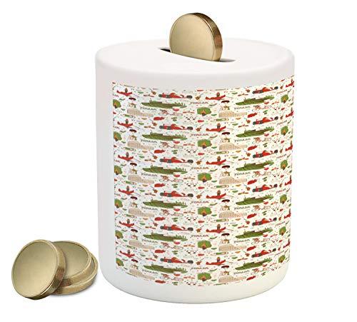 Lunarable Tuscan Piggy Bank, Bicycle Grapes Hearts Polka Dots Ruins Doodle Cartoon Car Ciao Ti Amo Italy Theme, Printed Ceramic Coin Bank Money Box for Cash Saving, Multicolor