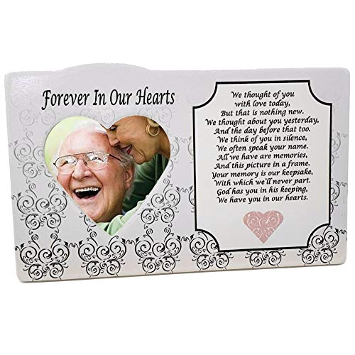 I Thought of You with Love Today Ceramic Memorial Picture Frame - Beautiful Tribute to the Loss of a Loved One - Traditional Design Goes with Any Decor - Great As a Keepsake Plaque - Bereavement Gift