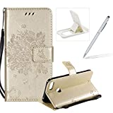Strap Leather Case for Huawei Honor 10 Lite,Bookstyle Magnetic [Gold Solid Color] Stand Flip Case for Huawei Honor 10 Lite,Herzzer Premium Elegant Butterfly Tree Cat Print Fold Wallet Folio Smart Case For Huawei Honor 10 Lite + 1 x White Cellphone Kickstand + 1 x Silver Stylus Pen