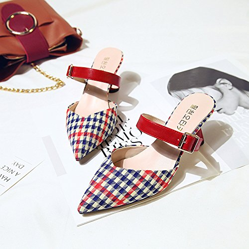 Female Stylish Comfortable Pointed Women'S Thick Cool And WHLShoes Sandals Slippers A Lattice Outside With Black Baotou Wearing q1YCwc