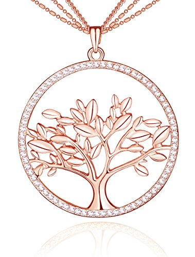 SCIONE Kabala Tree of Life Pendant Necklace with Czech Stones and 26 Inch Chain(Rose Gold)
