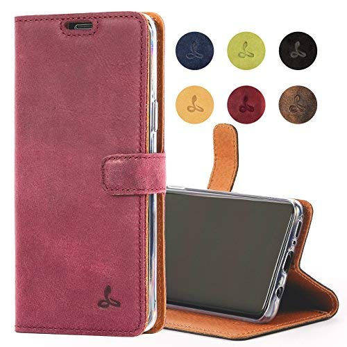 Snakehive Samsung Galaxy S9 Case, Genuine Leather Wallet with Viewing Stand and Card Slots, Flip Cover Gift Boxed and Handmade in Europe for Samsung Galaxy S9 - (Plum)
