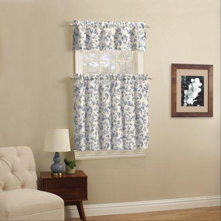 Mainstays Small Wndow Curtain Set, Aqua Leaf, 3 Piece