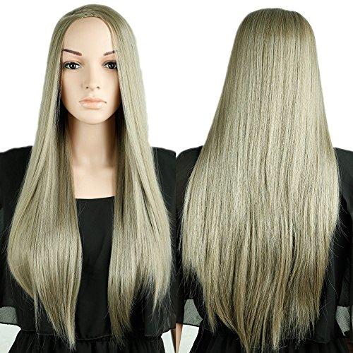[S-noilite 3/4 Full Head Long Straight Sandy Blonde Half Wig Lady Daily Wigs USPS] (Sandy Wig)