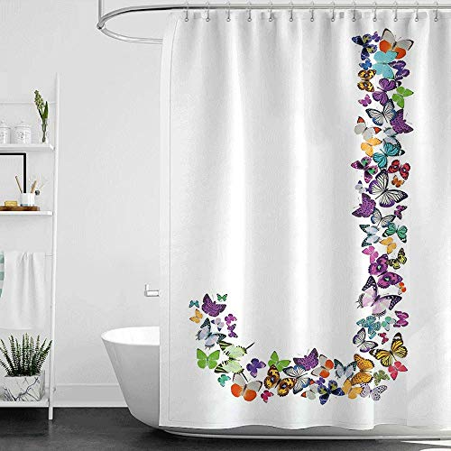 Shower Curtains Fabric Victorian Letter J,Alphabet and Nature Tropical Biological Monarch Collection of Wings Typeset ABC,Multicolor W72 x L84,Shower Curtain for clawfoot tub