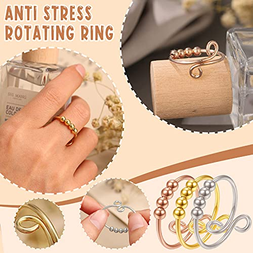 Keepfit Tik Tok Anti Anxiety Ring With Beads For Women,Men Girl Teen Bead Rings Jewelry Thumb Solid Spinner Ring Silver Gold Plated Adjustable Finger Single Coil Spiral, 2021 New (Golden+Silver+Rose Gold)