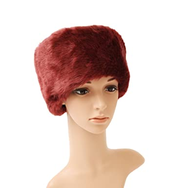 d488fecb Bedazzled Ladies Luxury Warm Winter Faux Fur Russian Style Cossack Pillbox  Hat in Burgundy - in Gift Bag: Amazon.co.uk: Clothing
