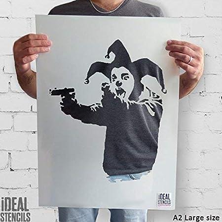 Pochoir Banksy semi transparent pochoir Insane Clown avec Guns R/éutilisable D/écor Maison /& Art Artisanat Peinture Pochoir XS// 11X13CM