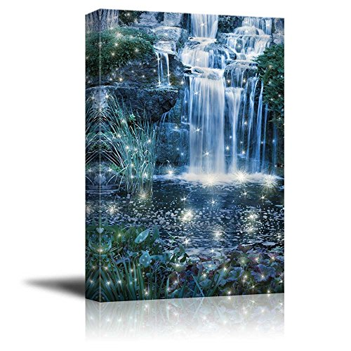 - wall26 - Canvas Prints Wall Art - Magic Night Waterfall Scene (Fantasy, Fairy, Waterfall) | Modern Wall Decor/Home Decoration Stretched Gallery Canvas Wrap Giclee Print. Ready to Hang - 24