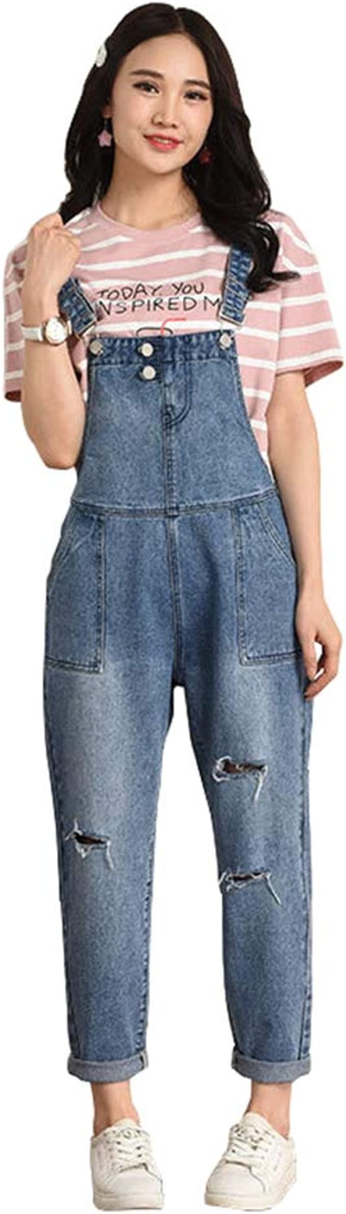 34-48 Damen Hose Overalls Jumpsuits Cargohose Latz Lässig Jeans Denim Stofhose