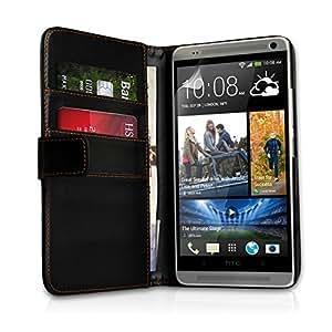 Yousave Accessories - Funda tipo libro para HTC One Max (piel sintética, tarjetero), color negro