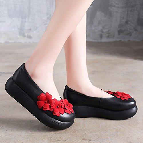 Damen Blumen Free Gescholssen Muster Fisher mit Schuhe R55qXp
