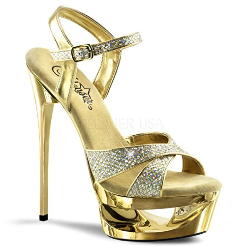 Pleaser Women's Ecp619g/g/m Platform Sandal, Multi GLTR/Gold Chrome, 9 M - Heels Multi Gold