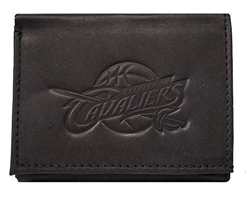 Rico Cleveland Cavaliers NBA Embossed Logo Black Leather Trifold Wallet by Rico