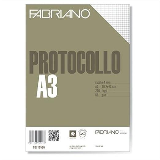 3 opinioni per Fabriano 02710566 Fogli Protocollo Standard, 4 mm -66 G/MQ, Confezione 200