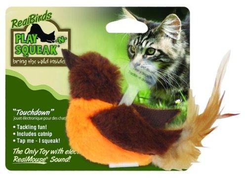 Our Pets Realbirds Play-N-Squeak Touchdown orange & Brown 1010011960