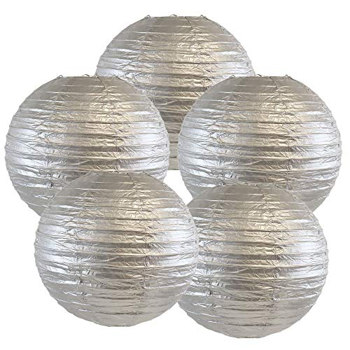 Just Artifacts 10-Inch Silver Chinese Japanese Paper Lanterns (Set of 5, Silver)