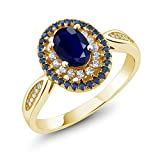 Blue Sapphire 18K Yellow Gold Plated Silver Women's Engagement Ring 1.62 Ctw Oval, Gemstone Birthstone (Size 8)