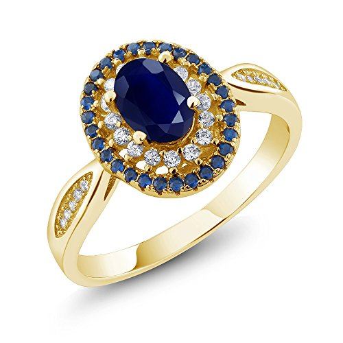 Blue Sapphire Gold 18k Ring - Blue Sapphire 18K Yellow Gold Plated Silver Women's Engagement Ring (1.62 Ctw Oval, Gemstone Birthstone, Available in size 5, 6, 7, 8, 9)