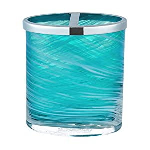 Five Queens Court Caribbean Reef Handmade Glass Striated Swirl Pattern Coastal Bathroom Accessory Toothbrush Holder Aqua