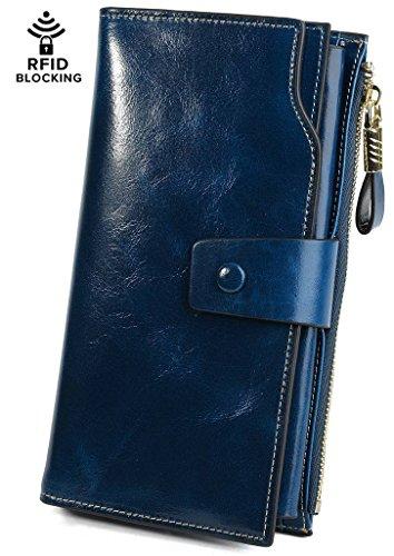 Womens Blue Wallet (YALUXE Women's Wax Genuine Leather RFID Blocking Clutch Wallet Wallets for Women Blue)