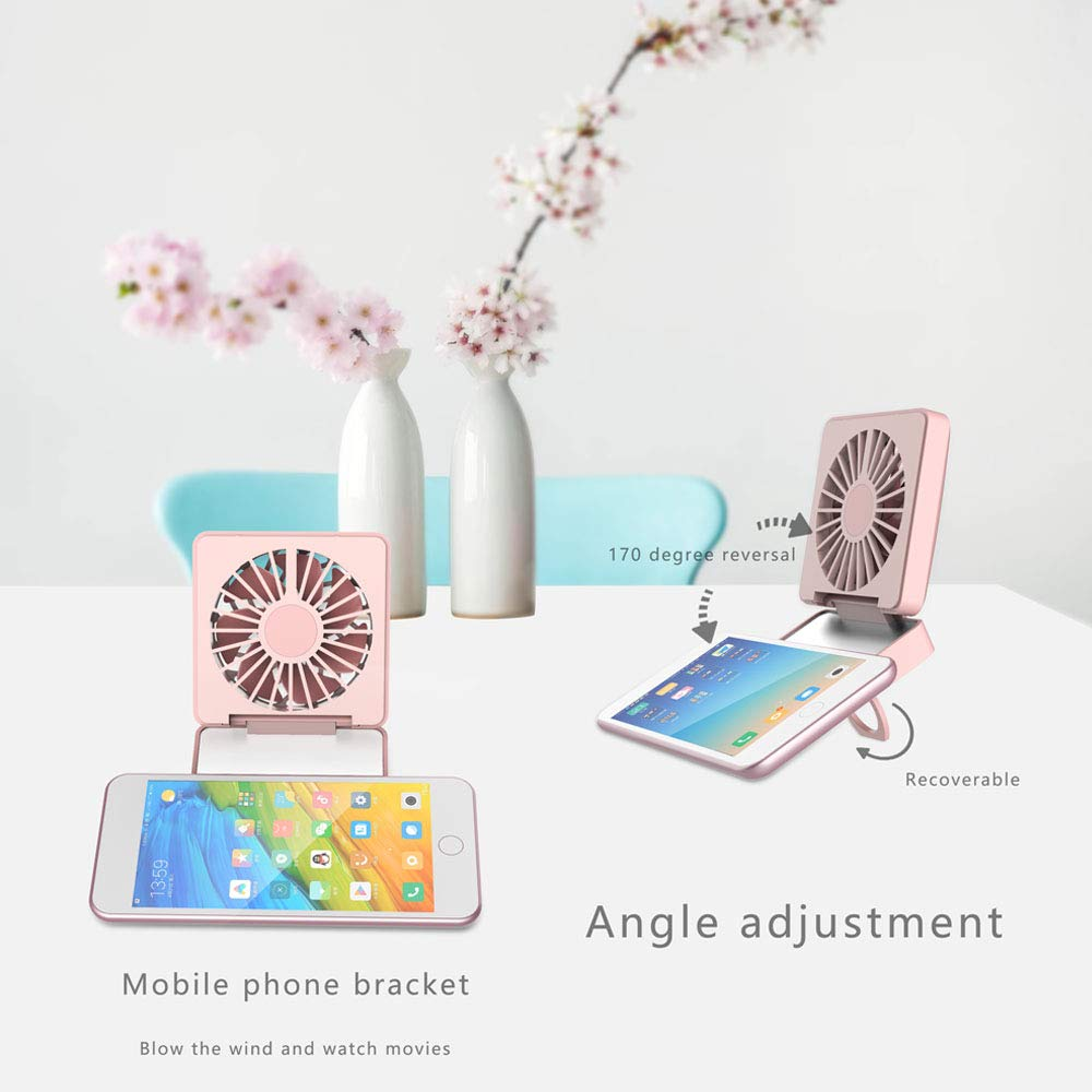 Portable Mini Fan 2 in 1 Mini Handheld Fan Fold Vanity Makeup Mirror Pocket Fan USB Rechargeable Personal Fan with 2 Setting 170° Rotating Free Adjustment for Office/Camping/Travel (Light Purple)