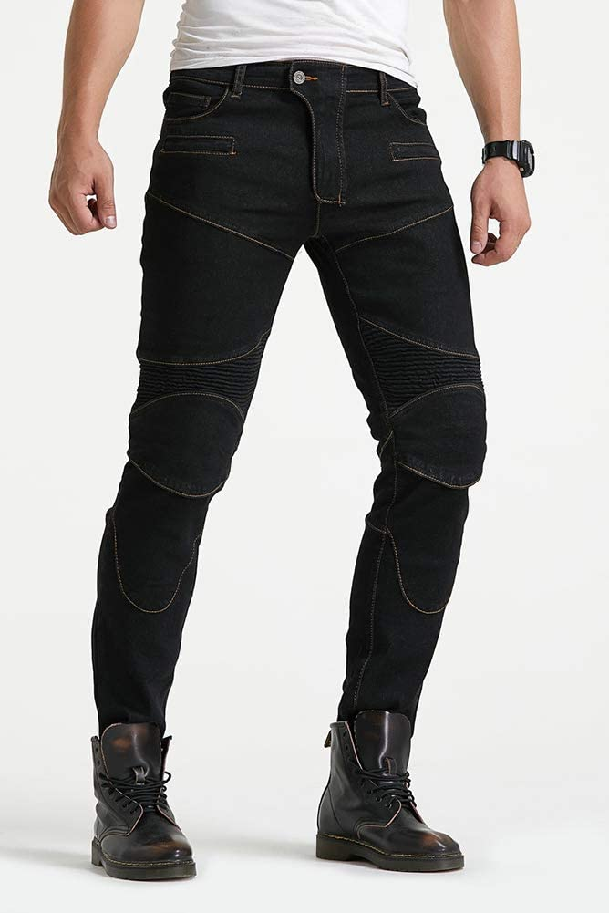Geling Pantalon Moto Hombre Jeans Kevlar Aramid Con Armadura Negro Xs