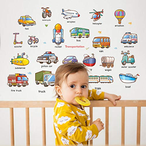 NACOLA Cars Wall Stickers Transports Kids Room Wall Decor Peel and Stick Wall Decals
