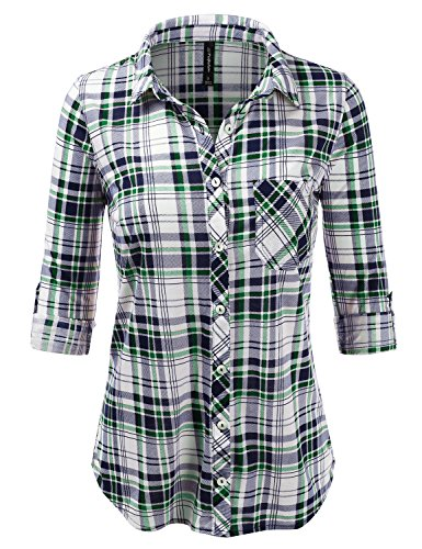 JJ Perfection Womens Long Sleeve Full Button Down Plaid Flannel Blouse Shirt Navygreen S (Flannel Patterned Plaid)