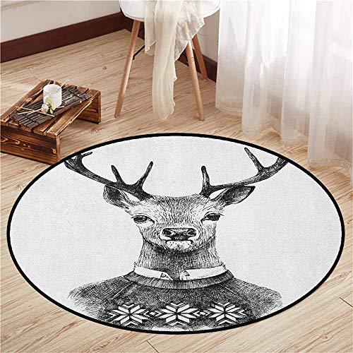 Bedroom Rugs,Indie,Hand Drawn Deer Portrait in a Nordic Style Knitted Sweater Hipster Christmas,Door Floor Mat for Bedroom,3'11