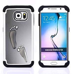 - footsteps human feet toes art water droplets/ H??brido 3in1 Deluxe Impreso duro Soft Alto Impacto caja de la armadura Defender - SHIMIN CAO - For Samsung Galaxy S6 G9200
