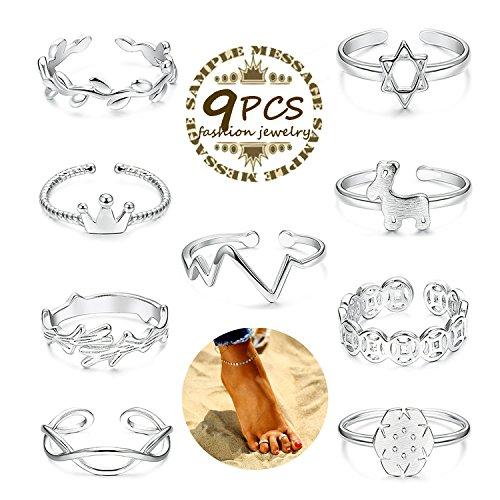 Adramata 9 Pcs Toe Rings for Women Girls Open Toe Ring Pack (Ring Toe Stylish)