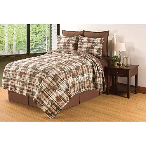 3 Piece Cabin Cottage Rustic Style Full Queen Brown Green Tan Comforter Set Floral Geometric Plaid Pattern Forest Lodge Bedding Evergreen Pine Cone Motif Relaxed Holiday Cozy Winter Hotel Bedding